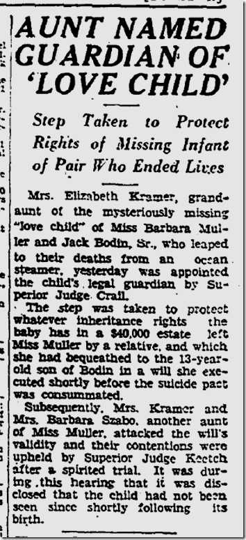 Nov. 8, 1933, Missing Love Child