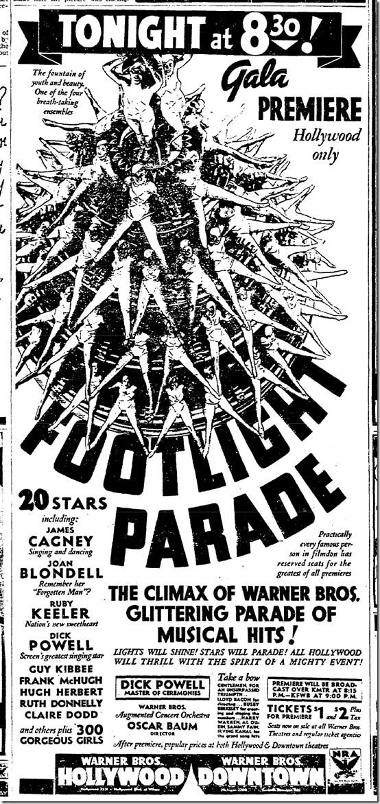 Nov. 8, 1933, Footlight Parade