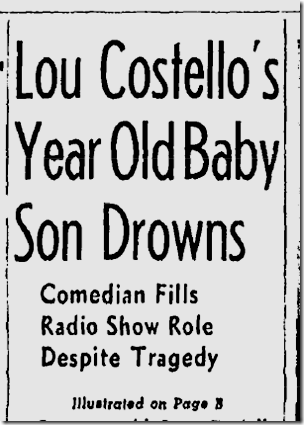 Nov. 3, 1943, Lou Costell's Son Drowns