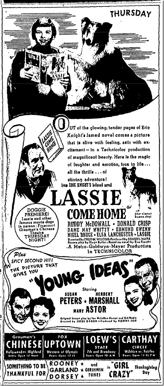 Nov. 15, 1943, Lassie Come Home