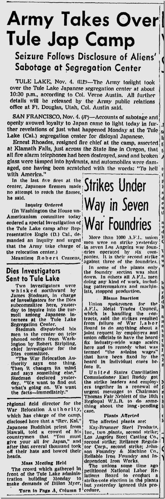 Nov. 4, 1943, Melee at Internment Camp