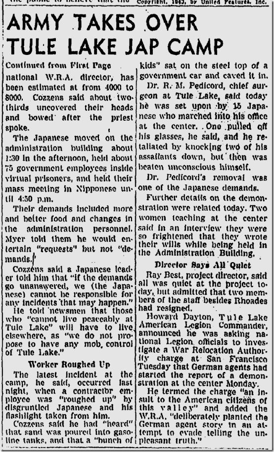 Nov. 4, 1943, Melee at Tule Lake