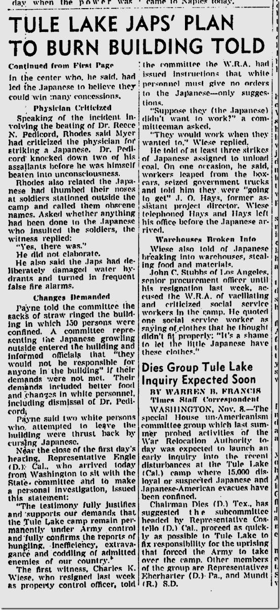 Nov. 9, 1943, Tule Lake Melee