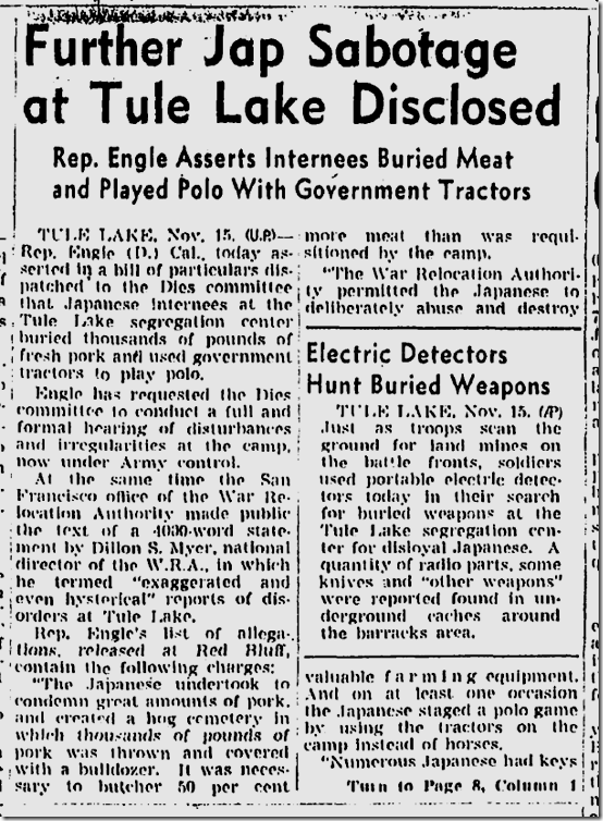 Nov. 16, 1943, Sabotage at Tule Lake