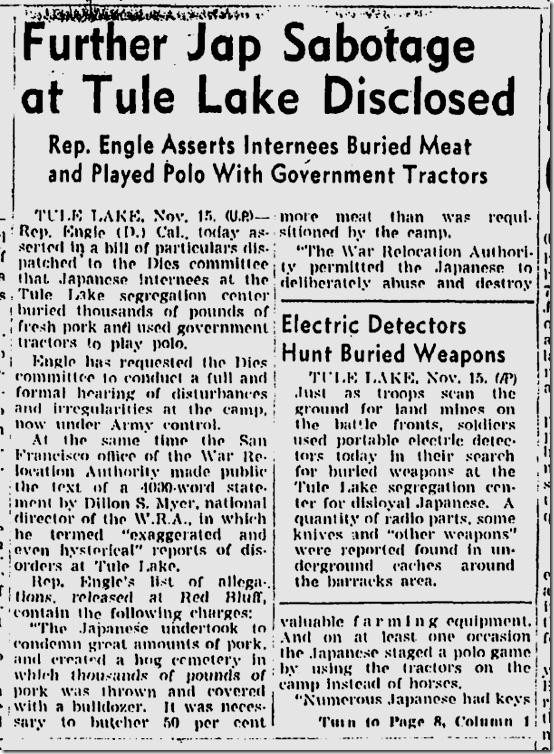 Nov. 16, 1943, Sabotage at Tule Lake