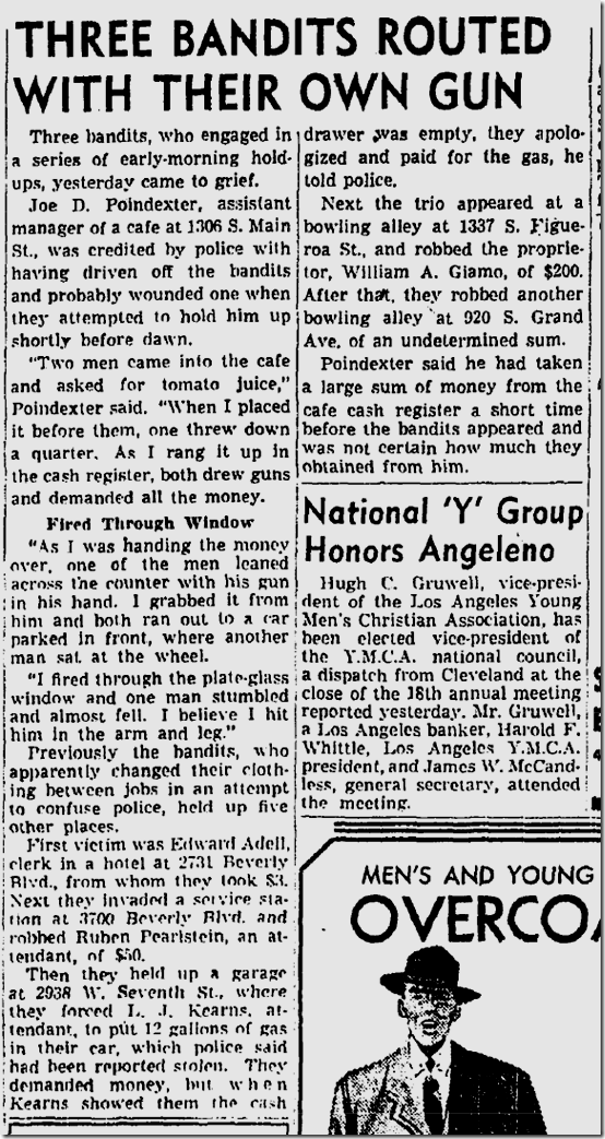 Oct. 25, 1943, Victim Disarms Robbers
