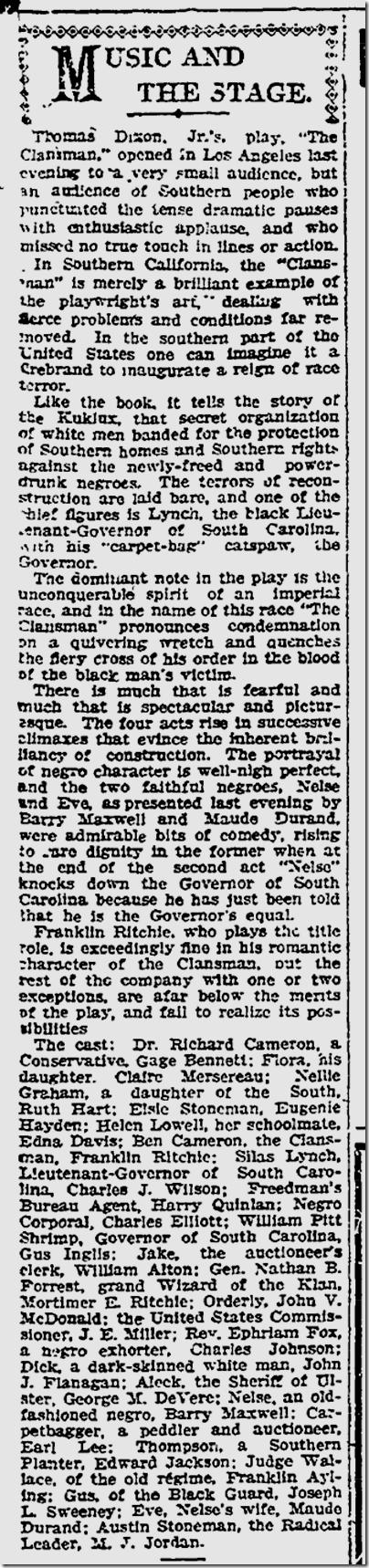 Dec. 1, 1908, The Clansman