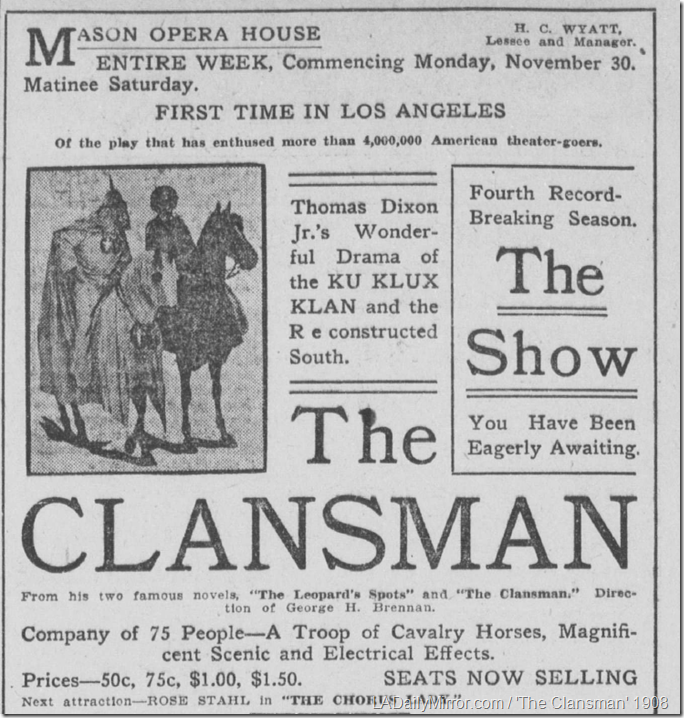 Nov. 27, 1908, The Clansman