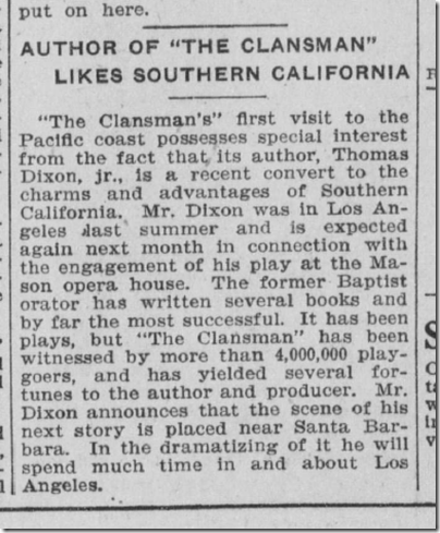 Nov. 8, 1908, Clansman Playwright Likes Southern California