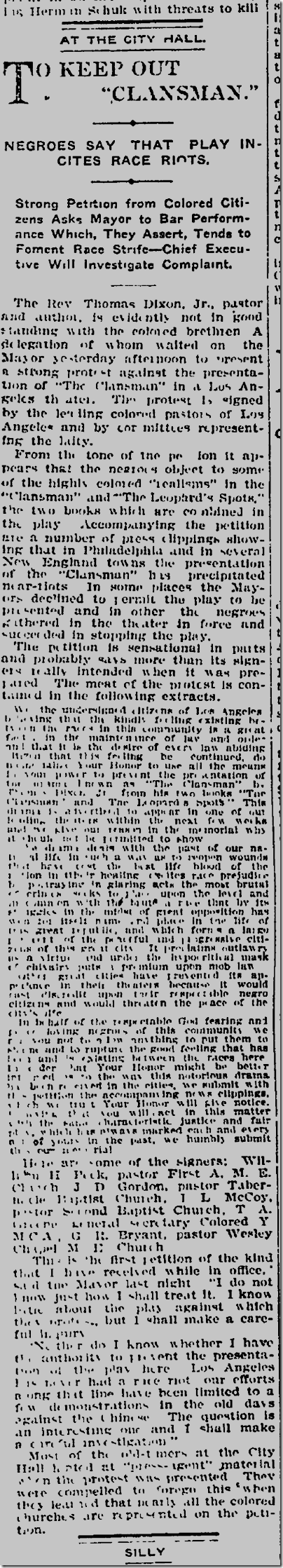 Oct. 1, 1908, Clansman