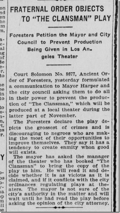 Oct. 11, 1908, The Clansman