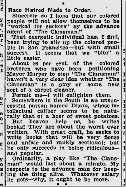 Nov. 15, 1908, The Clansman