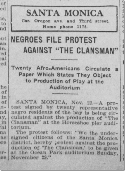 Nov. 23, 1908, The Clansman
