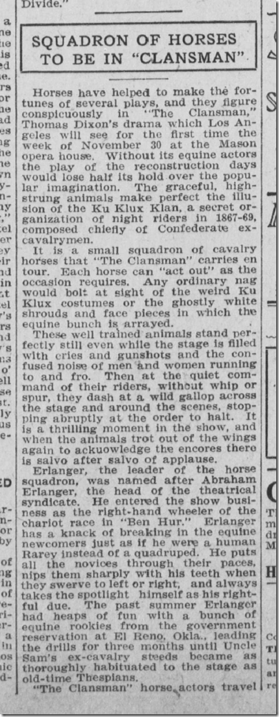 Nov. 24, 1908, The Clansman