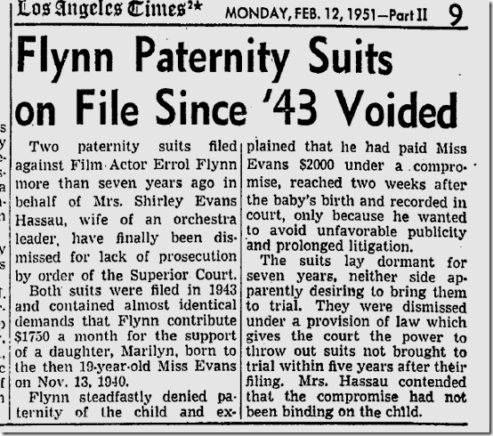 Feb. 12, 1951, Flyn Paternity Suits