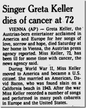 Nov. 6, 1977, Greta Keller Dies in Veinna