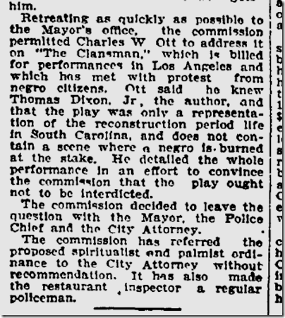 Oct. 7, 1908, The Clansman