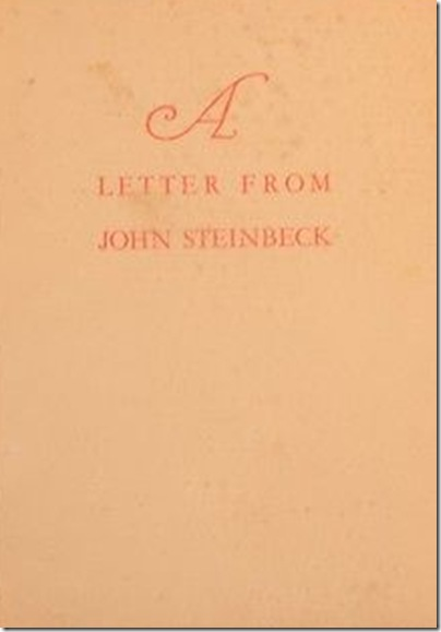 Zamorano Club, Letter From John Steinbeck