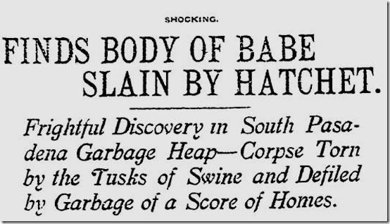 Nov. 23, 1907, Baby Killed With Ax