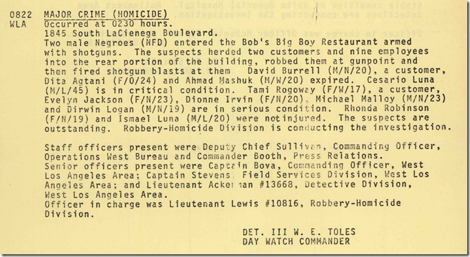 Dec. 15, 1980, Occurrence Log