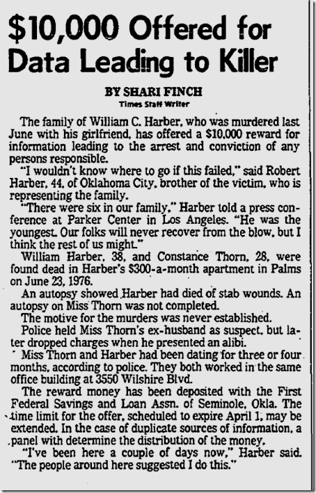 March 30, 1977, William C. Harber