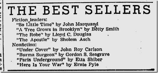 Dec. 19, 1943, Best Sellers