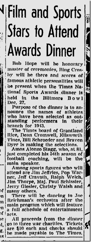 Dec. 19, 1943, Sports Awards Dinner