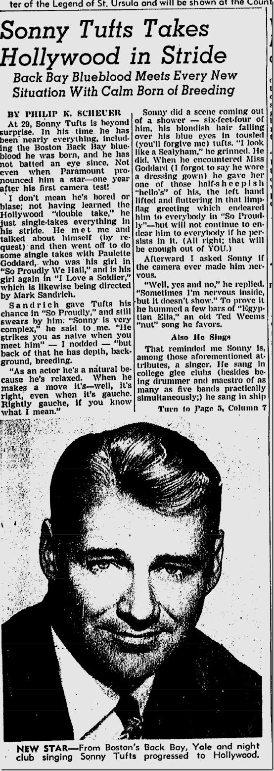 Dec. 19, 1943, Sonny Tufts