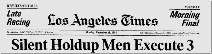 Dec. 15, 1980, Bob's Big Boy Robbery