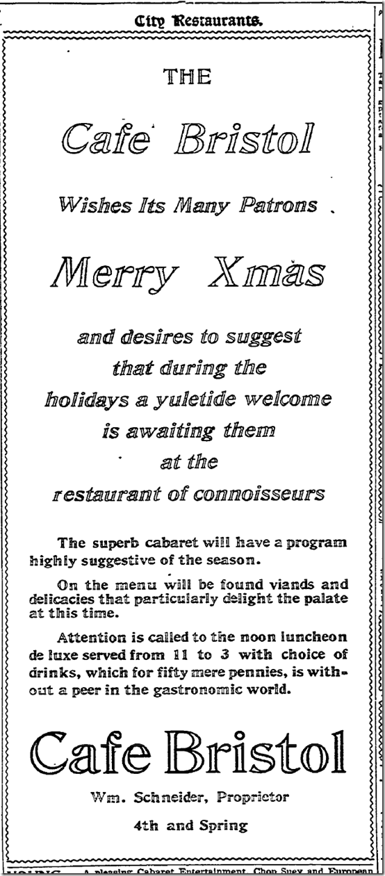 Dec. 25, 1913, Christmas at the Cafe Bristol