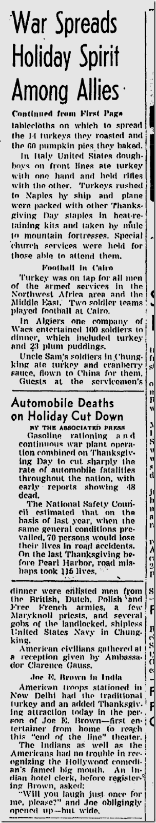 Nov. 26, 1943, Thanksgiving