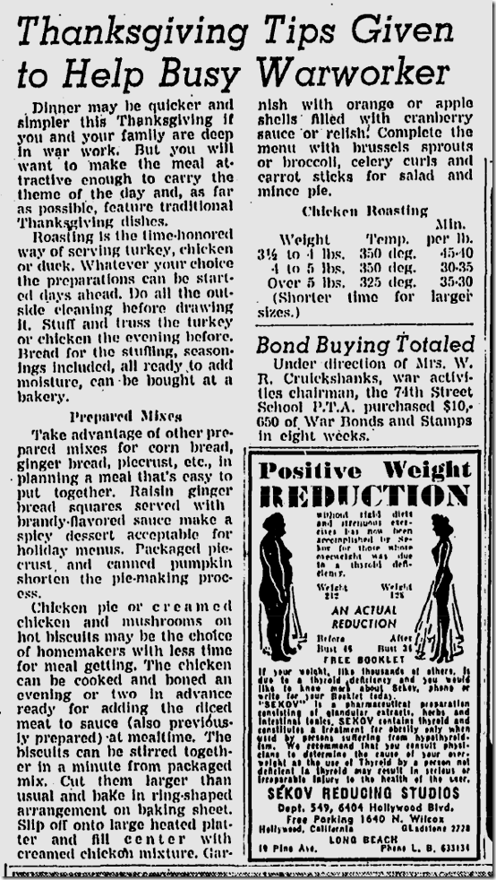 Nov. 21, 1943, Thanksgiving Tips for War Workers