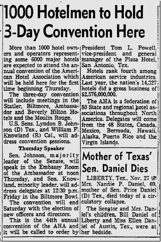 Nov. 28, 1955, Lyndon Johnson Visits L.A.