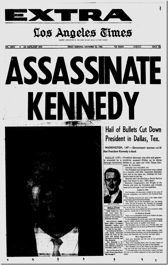 Nov. 22, 1963, JFK Assassinated