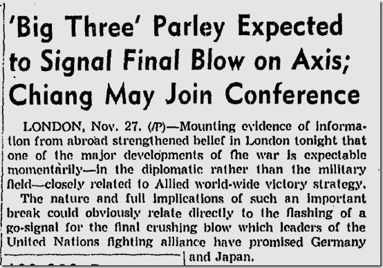 Nov. 28, 1943, Tehran Conference