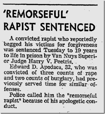 Aug. 1, 1973, Remorseful Rapist