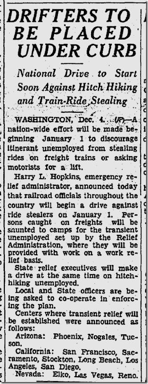 Dec. 5, 1933, Hobos