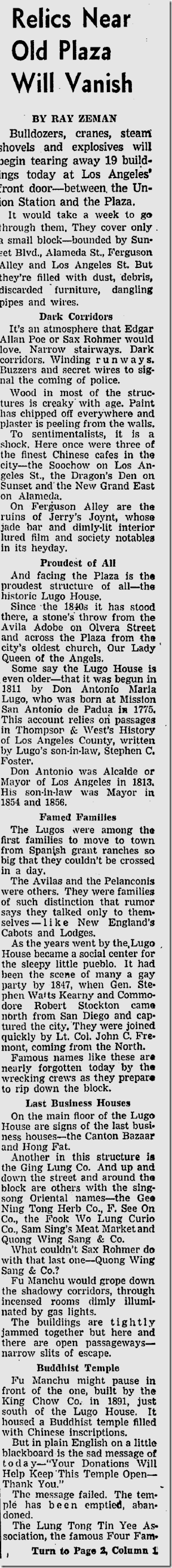 Feb. 7, 1951, Lugo Adobe Demolished