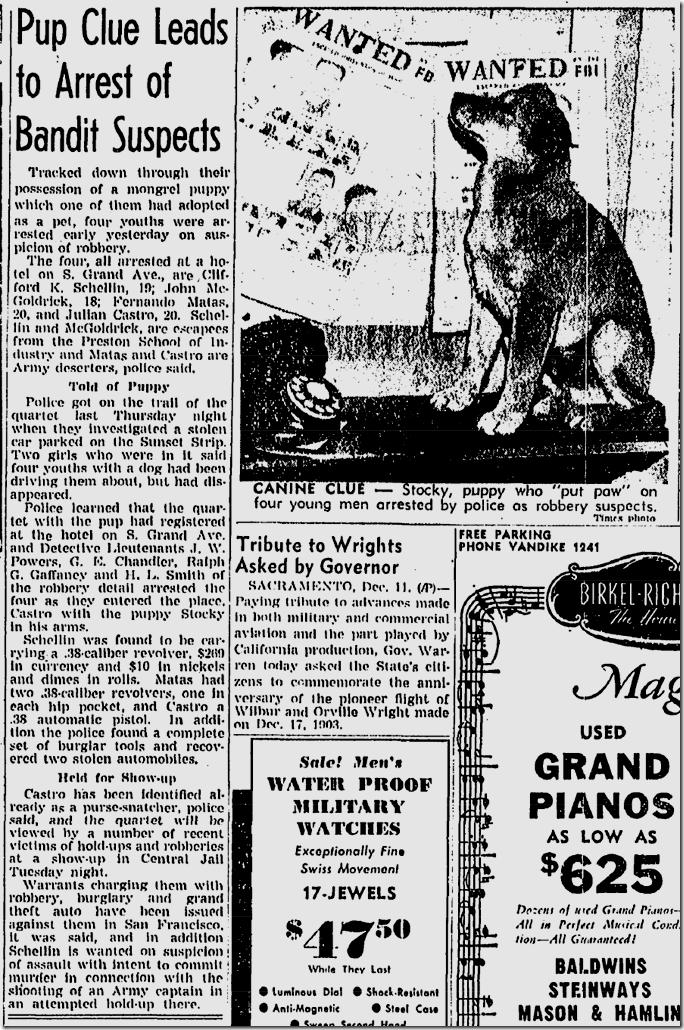 Dec. 12, 1943, Bow-Wow Bandits