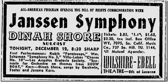 Dec. 12, 1943, Dinah Shore