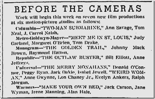Dec. 12, 1943, Films in Production