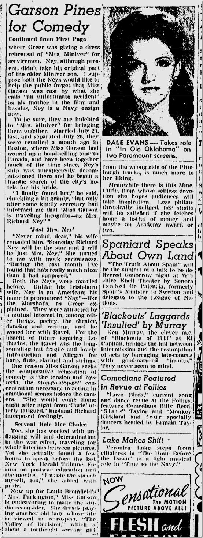 Dec. 12, 1943, Gree Garson