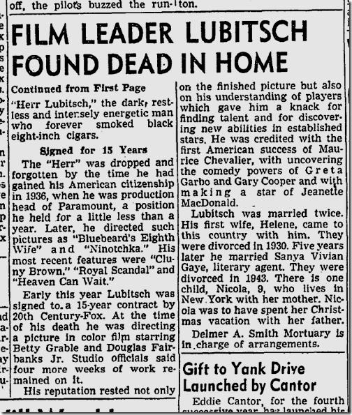 Dec. 1, 1947, Lubitsch Dies