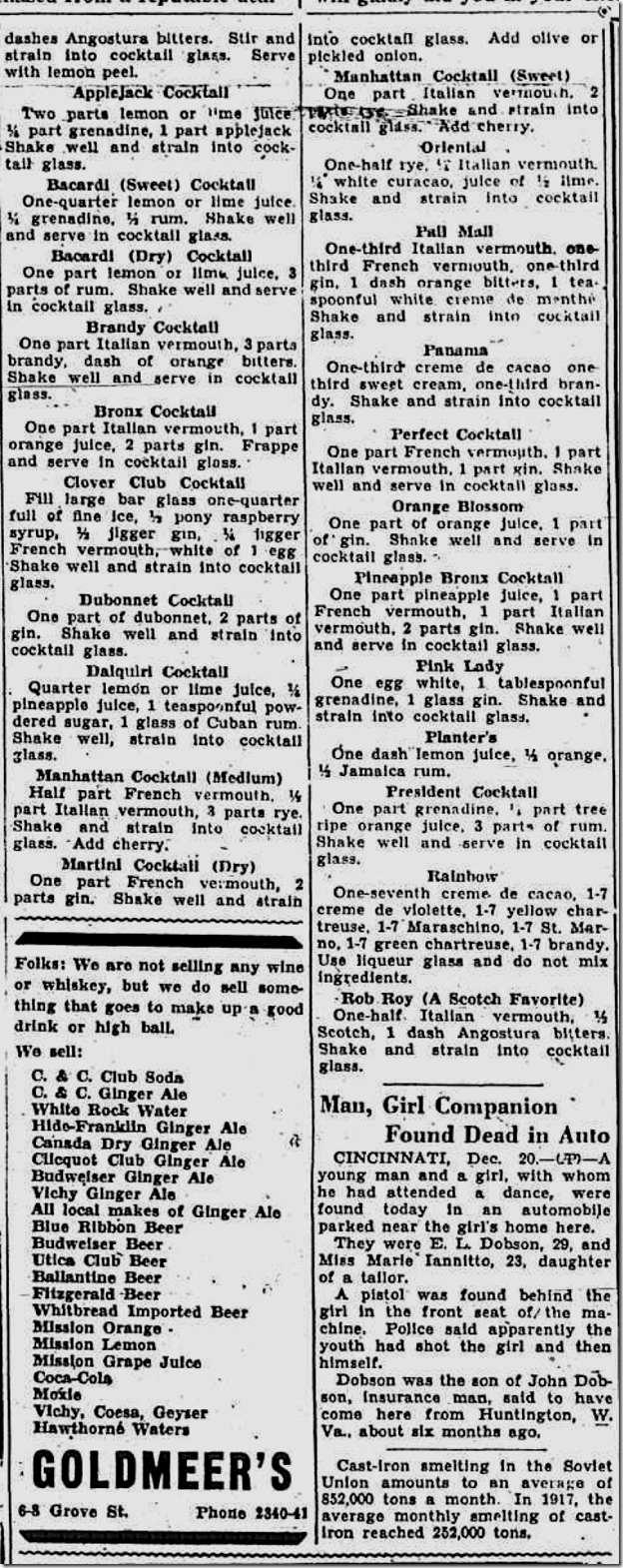 Dec. 20, 1934, Cocktail Recipes