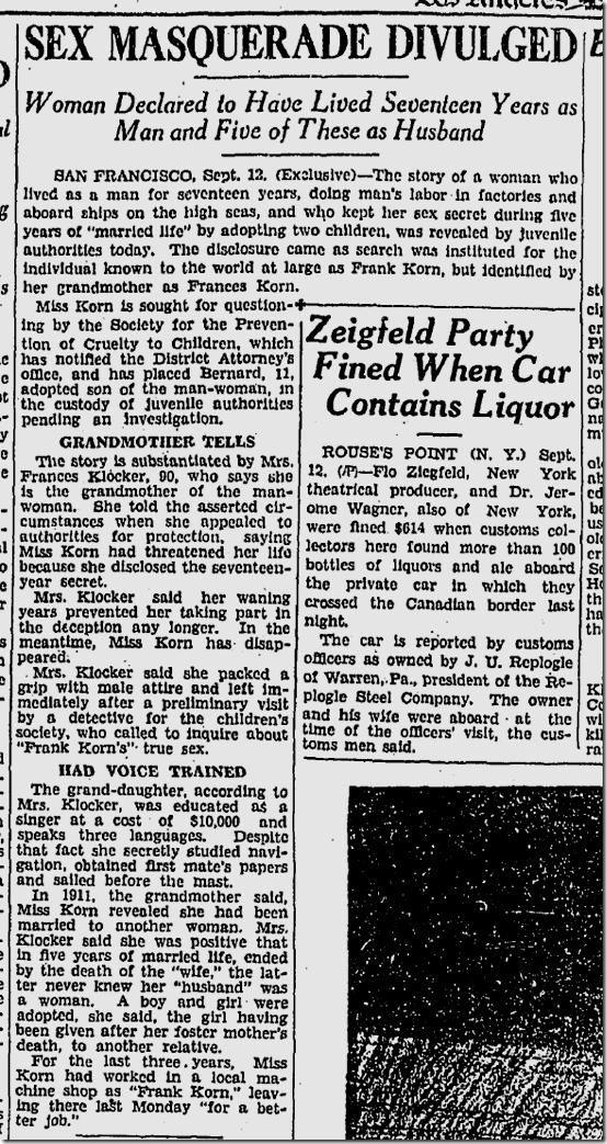 Sept. 13, 1928, Sex Masquerade