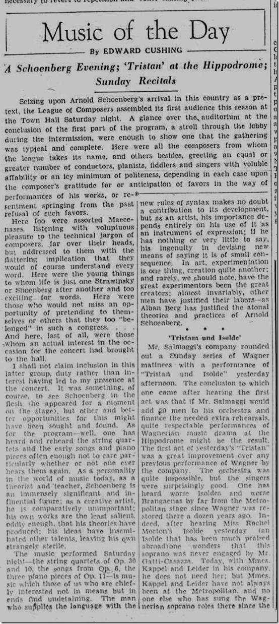 Nov. 3, 1933, Arnold Schoenberg Concert