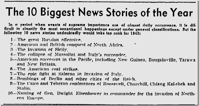 Dec. 31, 1943, Biggest Stories of the Year