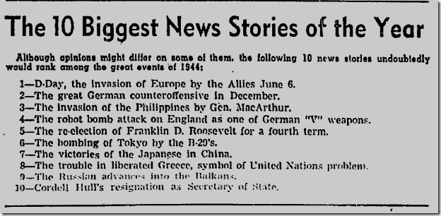 Jan. 1, 1945, Stories of the Year