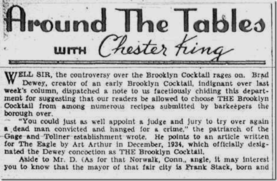 March 5, 1937, Brooklyn Cocktail