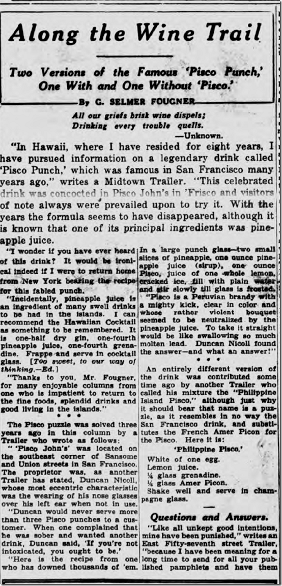 Jan. 11, 1939, Pisco Punch